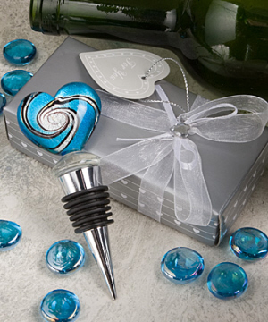 Murano Heart Design Wine Bottle Stopper Favors