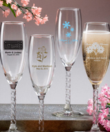Champagne Twisted Stem Flute Favors Personalized