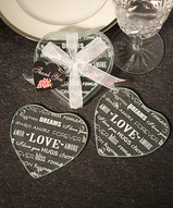 Hearts of Love Glass Coaster Set