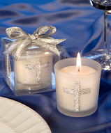 Silver Cross Themed Candle Holder