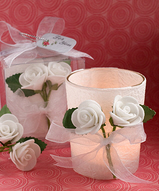 White Rose Candle Holder Favors