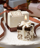 Brown and Ivory Damask Gift Box Candle Favors