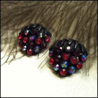 Austrian Berry Cluster Earrrings Red Purple Blue 1950s Vintage Jewelry