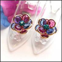 Austrian Crystal Earrings Hot Pink n Blue Flowers Vintage Jewelry