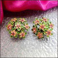 vintage jewelry,rhinestone flower earrings
