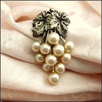 Art Nouveau Dress Clip Pearls w Leaves 1920s Antique Jewelry