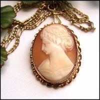 Antique Cameo Pin Carved Sardonyx Shell 12kt Gold Brooch 1920s Jewelry 