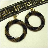 Black n Gold Glass Bead Hoop Earrings 1980s Modern Jewelry