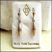 14kt Gold Diamond Dangle Earrings 1960s West German Jewelry
