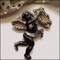 Angel Pin Antique Pot Metal Cherub Brooch 1940s Valentine Jewelry