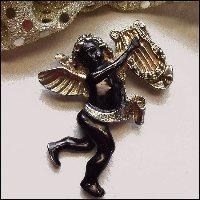Angel Pin Antique Pot Metal Cherub Brooch 1940s Valentine Jewelry