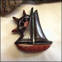 Art Deco Pin Carved Wood Sailboat Nautical Brooch Antique Jewelry