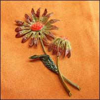 ART Signed Flower Pin Big Autumn Rudbeckia 1960s Vintage Jewelry