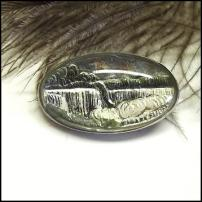 Bavarian Jewelry Vintage Waterfall Intaglio Glass Pin Sterling Brooch
