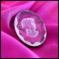 Cameo Pin German Intaglio Crystal Brooch 1950s Vintage Jewelry