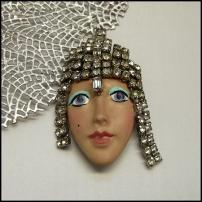 Art Deco Pin Bisque Lady Face Brooch w Blue Eyes Vintage Jewelry