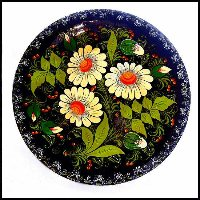 Antique Bavarian Hand Painted Wood Flower Plate
